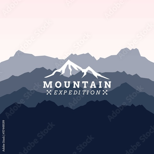 Tuinposter Purper Mountain expedition logo