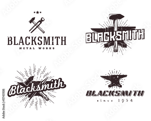 Leinwand Poster Set of blacksmith and metalworks badges, logos, signs, labels, emblems, templates