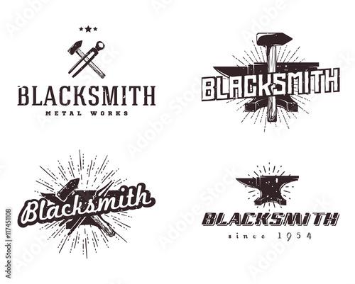 Set of blacksmith and metalworks badges, logos, signs, labels, emblems, templates Fototapete