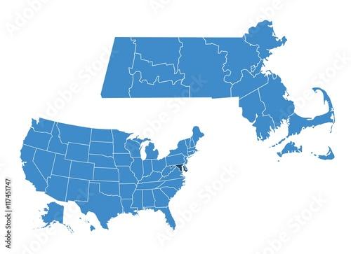 Obraz na płótnie Map of massachusetts