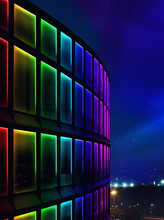 Facade Building Night Light Us...