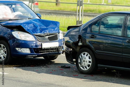 Car crash accident on street Canvas Print