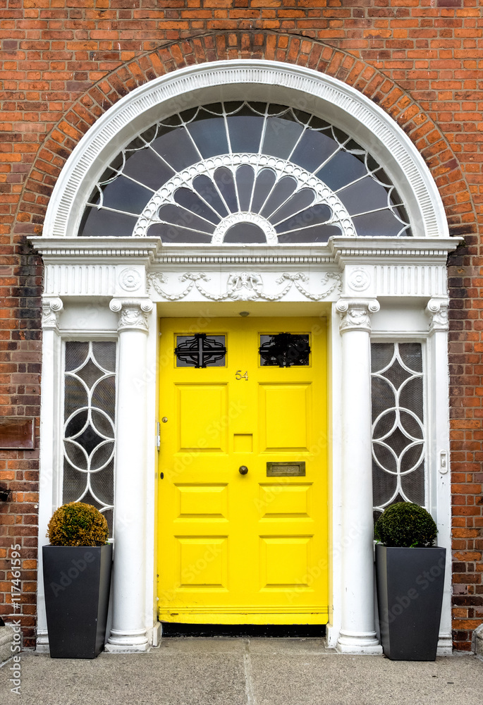 Fotografia  Irland - Dublin - bunte Haustür am Merrion Square Park