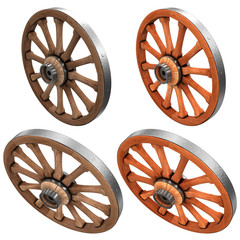 Wagon wheels. A set of images. 3d illustration. Isolated on white