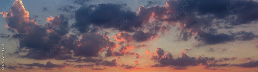 Fototapety, obrazy: Sunset sky colorful panoramic view
