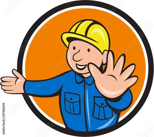 Canvas Prints Fairytale World Builder Hand Stop Signal Circle Cartoon