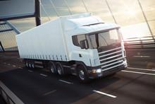 Truck On A Sea Bridge 3D Rende...