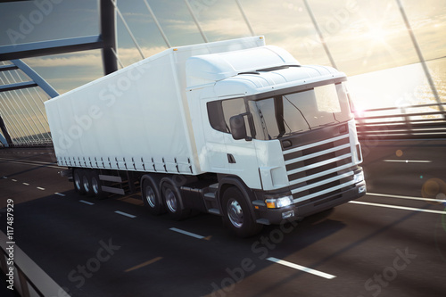fototapeta na drzwi i meble Truck on a sea bridge 3D Rendering