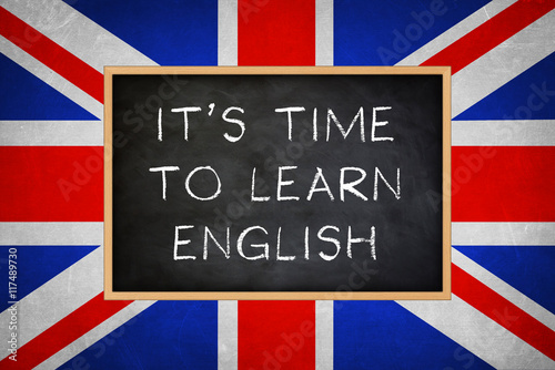 Fényképezés It is time to learn english - chalkboard concept