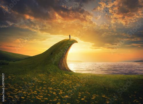 Woman on a cliff Fototapeta