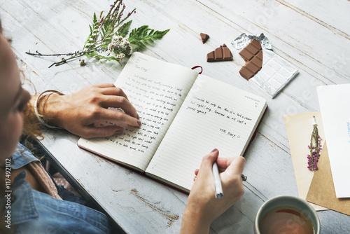 Female Diary Desk Chocolate Concept Canvas Print