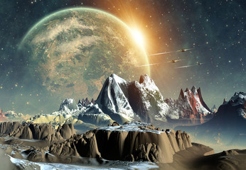 Fototapeta Kosmos 3d Rendered Fantasy Alien Planet - Illustration