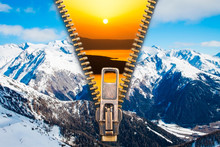 Time For Change! - Abstract Image Of The Change Concept With Summer Sunset And Winter Dawn   Landscapes Split By An Open Zip.