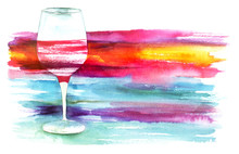 Watercolor Glass Of Red Wine With Painted Texture For Copyspace