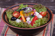 Fresh vegetable greek salad on the table