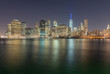 Downtown Manhattan and water reflections at sunset, new York Cit