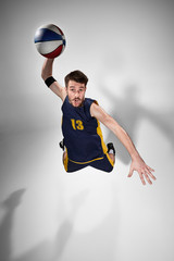 Fototapeta Sport Full length portrait of a basketball player with ball
