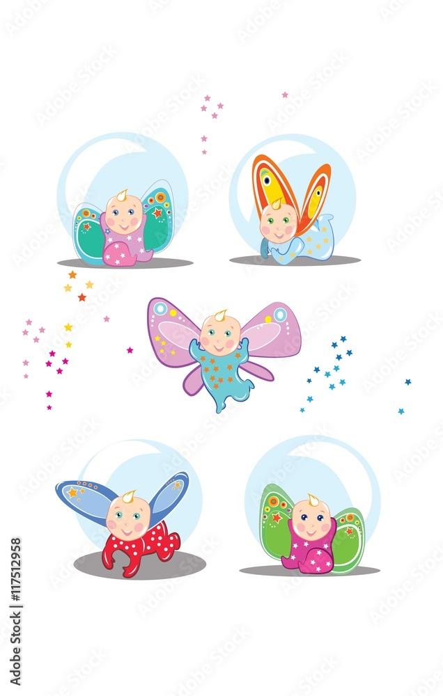 Fototapety, obrazy: Małe bajkowe dzieci z kolorowymi skrzydełkami fruwają i bawią się wesoło.