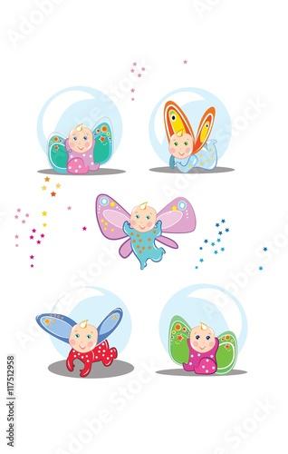 Fototapeta Małe bajkowe dzieci z kolorowymi skrzydełkami fruwają i bawią się wesoło. obraz