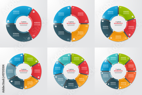 Tablou Canvas Set of pie chart circle infographic templates with 3-8 options