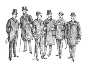 Vintage Hand Drawn Gentleman Set. Men's clothing. Retro Illustration in ancient engraving style