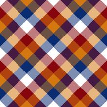 Red Orange Blue White Diagonal Check Seamless Pattern
