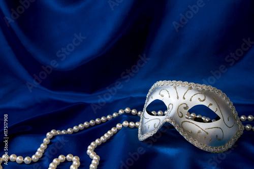 Silver carnival mask and pearl Wallpaper Mural
