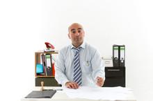 Slacker Bureaucrat In Office Overworked With Documents