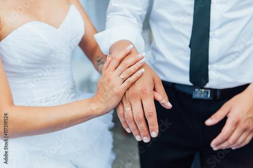 Fototapety, obrazy: Happy Bride and groom walking, hugging