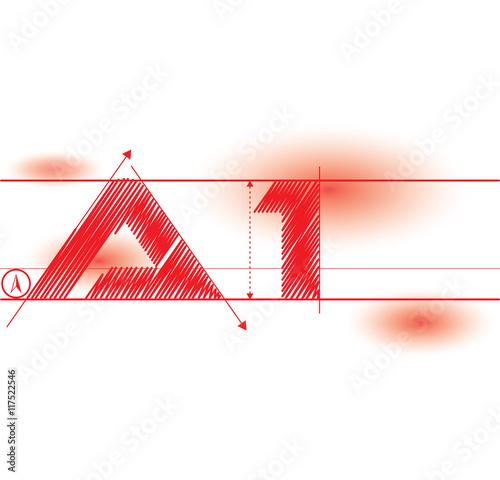 Photo a1 redprint font