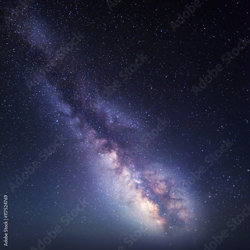 Night landscape. Starry sky with Milky Way. Nature background Canvas Print