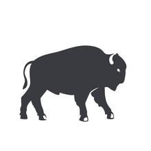 Buffalo Silhouette, Emblem, Logo Element Isolated On White