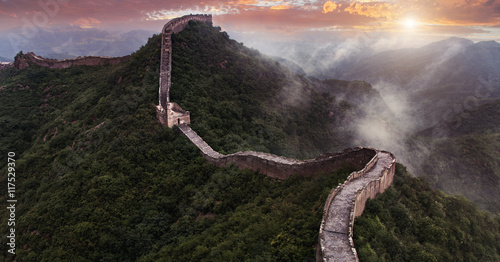 Montage in der Fensternische Chinesische Mauer The Great wall of China: 7 wonder of the world.