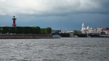 View Of The River Neva With The Palace Embankment. St. Petersburg, Russia.