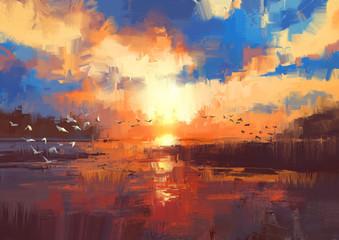 Obraz beautiful painting showing sunset on the lake,illustration