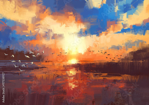 beautiful painting showing sunset on the lake,illustration - 117538927