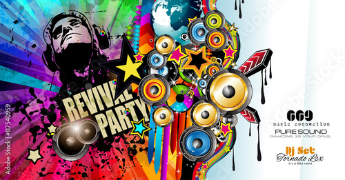 club-disco-flyer-template-with-music-elements-colorful-scalable-backgrounds