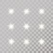 Set of glowing light bursts with sparkles on transparent background. Transparent gradient stars, lightning flare. Magic, bright, natural effects. Abstract texture for your design.Vector illustration.