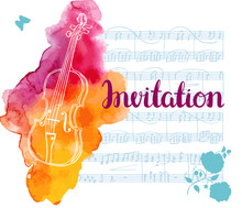 Vector Invitation With Vintage Violin With Sheet Music And Rose