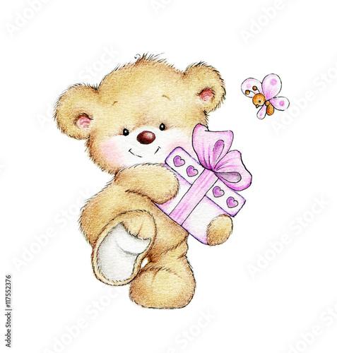 Fotografie, Obraz  Teddy bear with gift