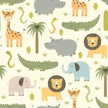 Safari Animals Seamless Pattern With Cute Hippo, Crocodile, Lion