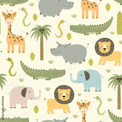 fototapeta na drzwi i meble Safari animals seamless pattern with cute hippo, crocodile, lion