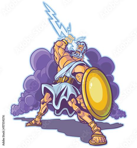 Fotografie, Obraz  Greek Thunder God or Titan Mascot Vector Cartoon