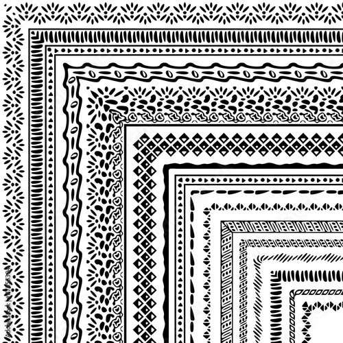Papiers peints Style Boho Vector brushes collection in boho style. African style ornament borders for patterns, mandalas and frames. Pattern brushes with corners are included in swatch panel.