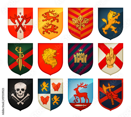 Photo Collection of medieval shields and coat  arms
