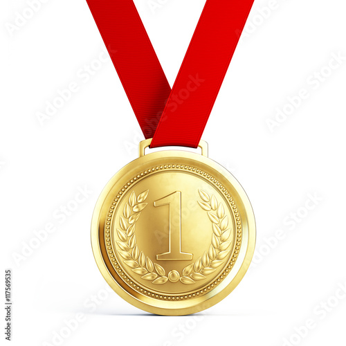 Fotografiet First place Gold medal with red ribbon isolated on white background - 3d illustr