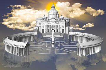 FototapetaPiazza San Pietro in Città del Vaticano sospesa fra terra e cielo con sullo sfondo il sole fra le nuvole..