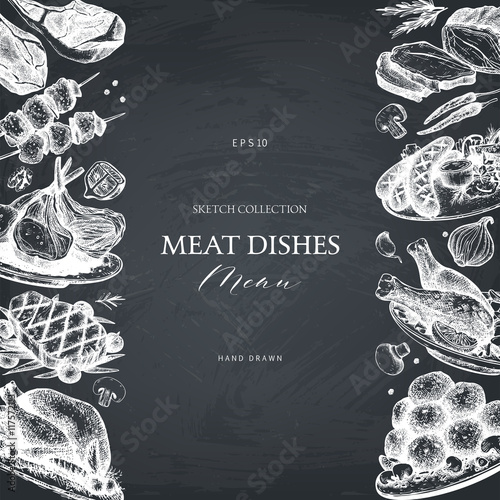 Fotografía  Vector frame with hand drawn meat illustration
