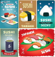 Vintage Sushi Poster Design With Vector Sushi. Chinese Word Means Sushi, Green Tea.