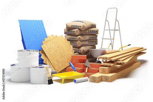 Fényképezés  Construction materials isolated on white. 3D rendering